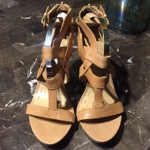 "Nine West ""Philo"" Strappy Sandals Heels Taupe 9.5"